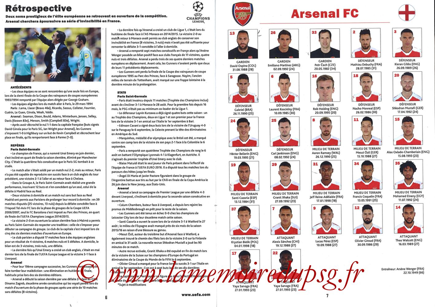 2016-09-13  PSG-Arsenal (1ère Poule C1, Programme pirate) - Pages 06 et 07