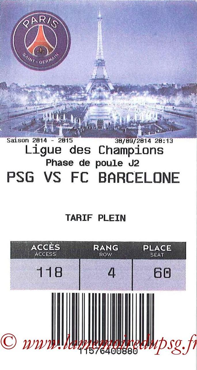 2014-09-30  PSG-Barcelone (2ème Poule C1, E-ticket)