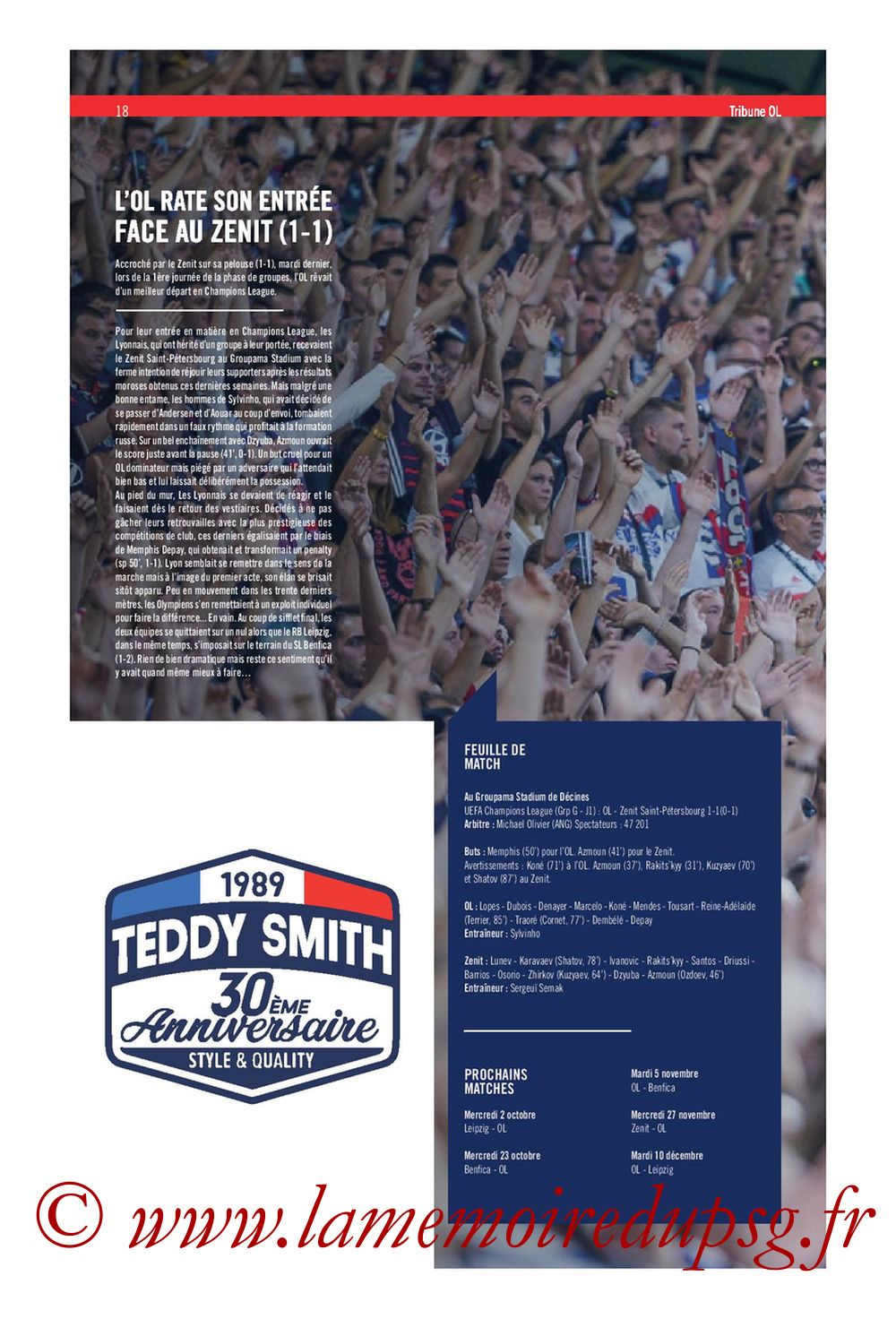 2019-09-22  Lyon-PSG (6ème L1, Tribune OL N°284) - Page 18
