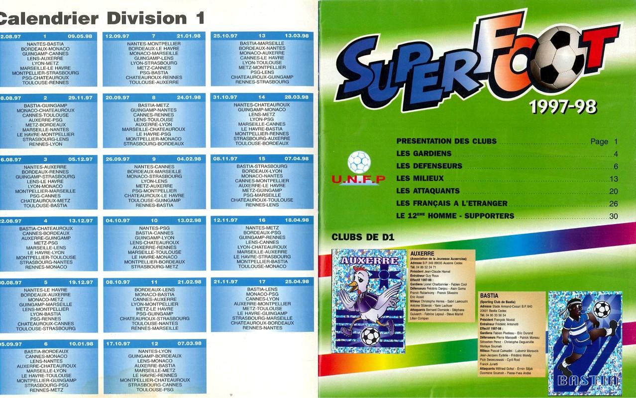 1997-98 - Panini Superfoot - Pages 00 et 01 - Calendrier D1 et Présentation des clubs