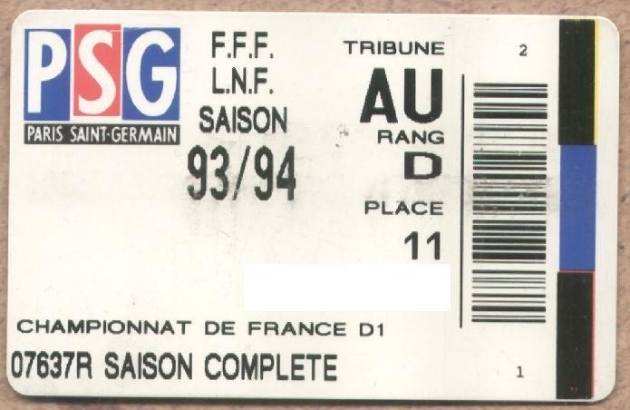 Carte d'abonné PSG 1993-94