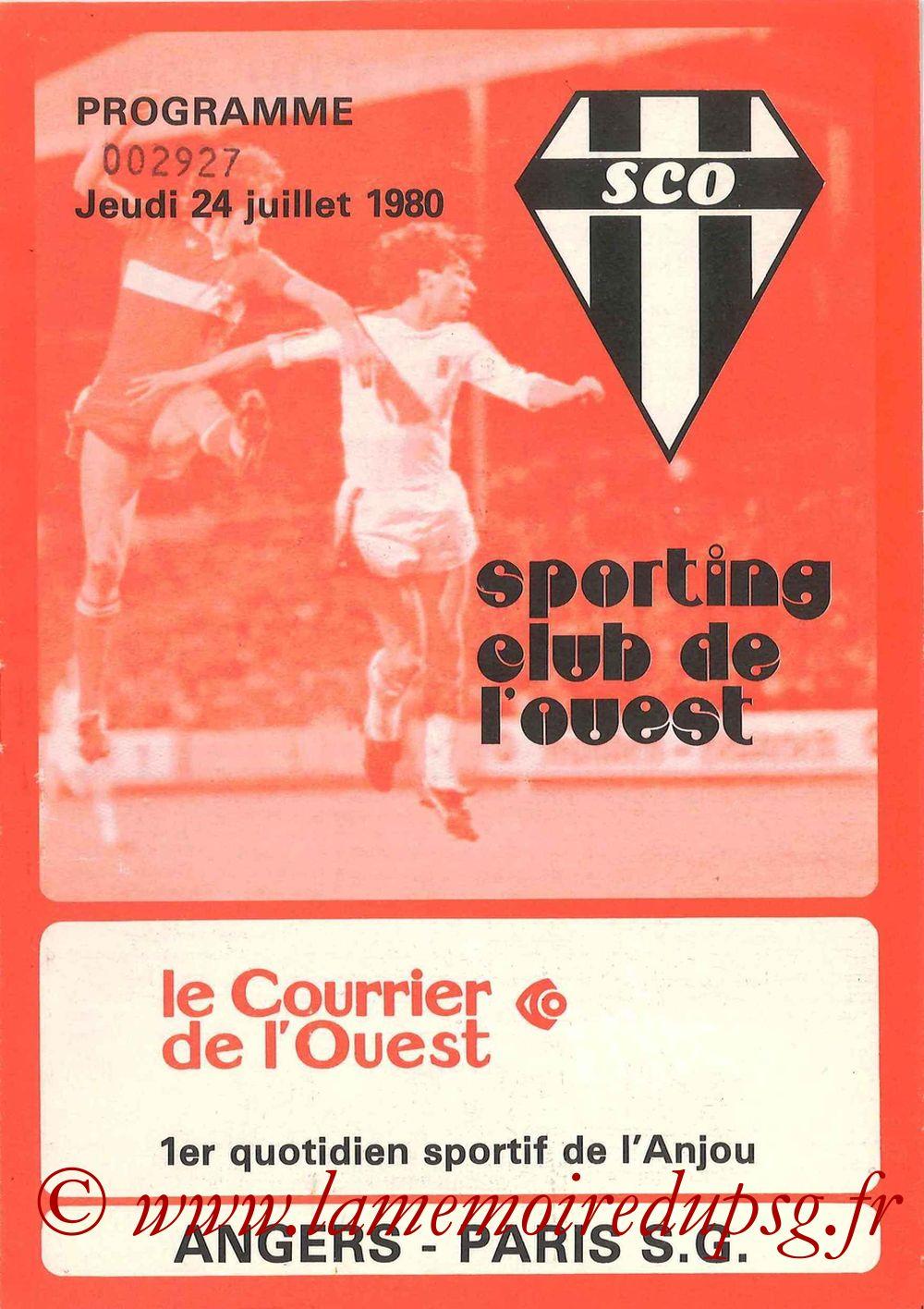 1980-07-24  Angers-PSG (1ère D1, Programme officiel