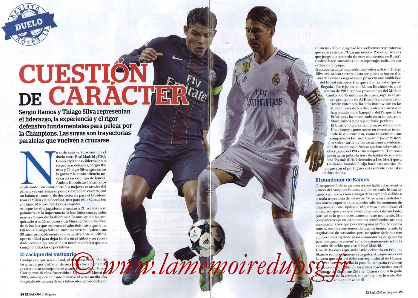 2018-02-14  Real Madrid-PSG (8ème Aller C1, El Balon in the game N°47) - Pages 24 et 25