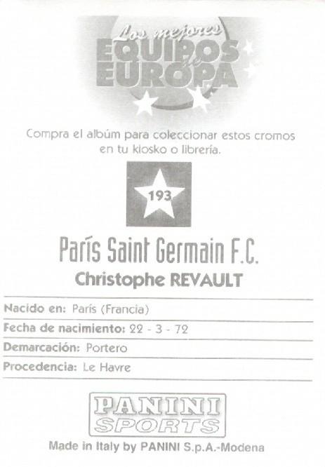 N° 193 - Christophe REVAULT (Verso)
