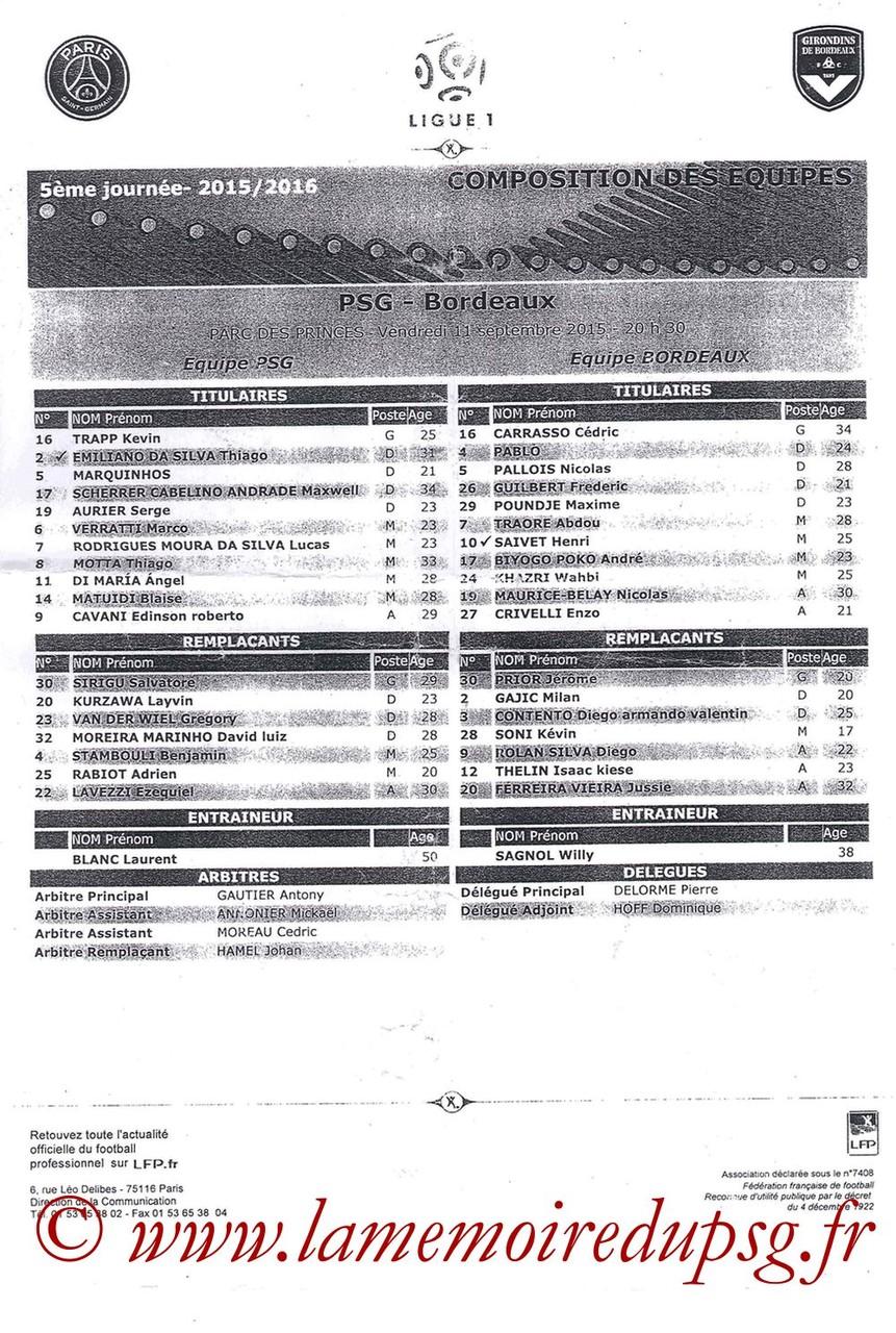 2015-09-11  PSG-Bordeaux (5ème L1, Feuille de match)