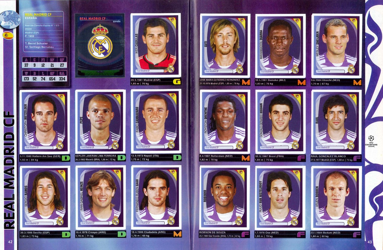 2007-08 - Panini Champions League - Pages 42 et 43 - Real Madrid FC