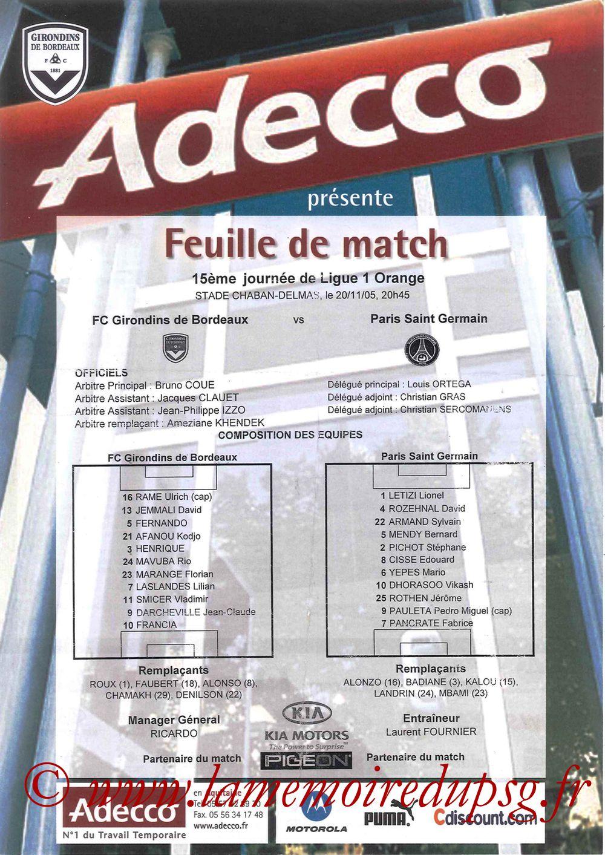 2005-11-20  Bordeaux-PSG (15ème L1, Feuille de match)