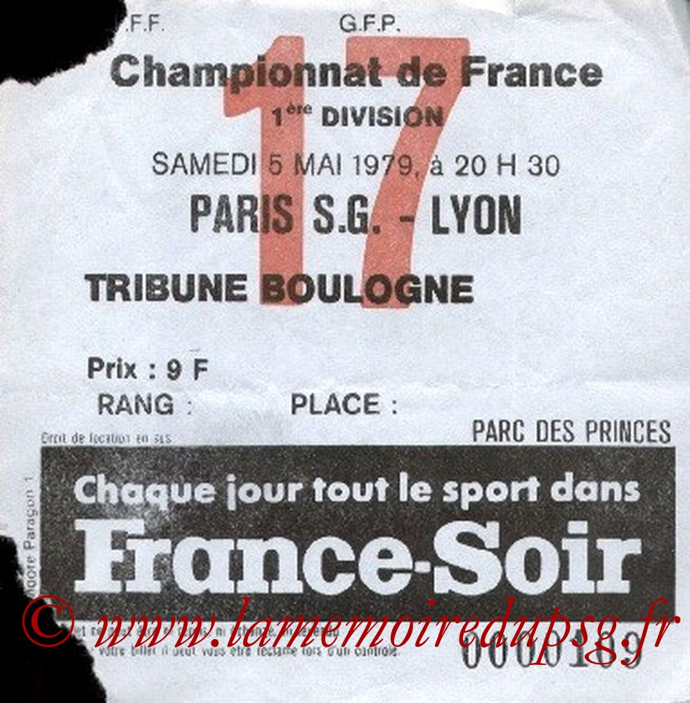 1979-05-05  PSG-Lyon (34ème D1, Ticket N°17)