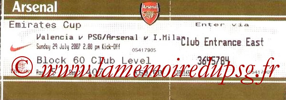 Tickets  Valence-PSG  2007-08