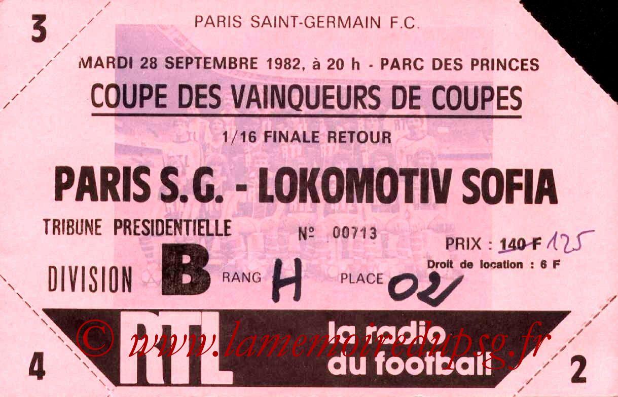 1982-09-28  PSG-Lokomotiv Sofia (16ème Retour C2)