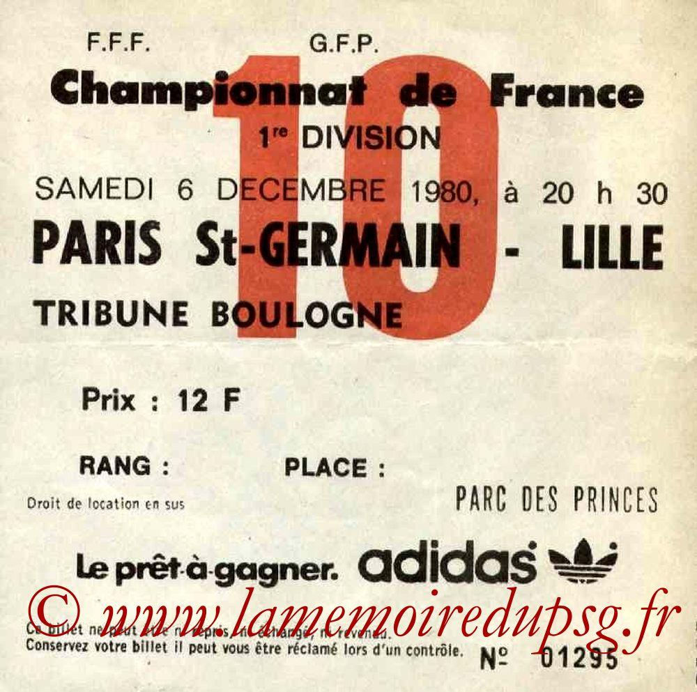 1980-12-06  PSG-Lille (21ème D1, Ticket N°10)