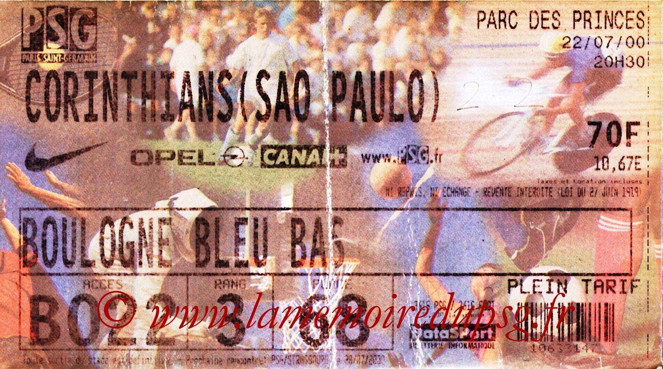 2000-07-22  PSG-Corinthians (Amical au Parc des Princes)