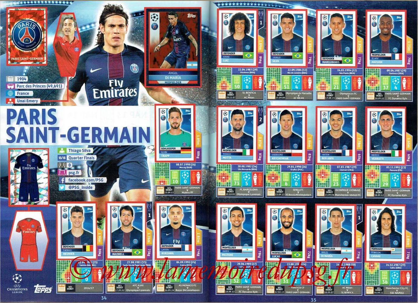 2016-17 - Topps UEFA Champions League Stickers - Pages 34 et 35 - Paris Saint-Germain