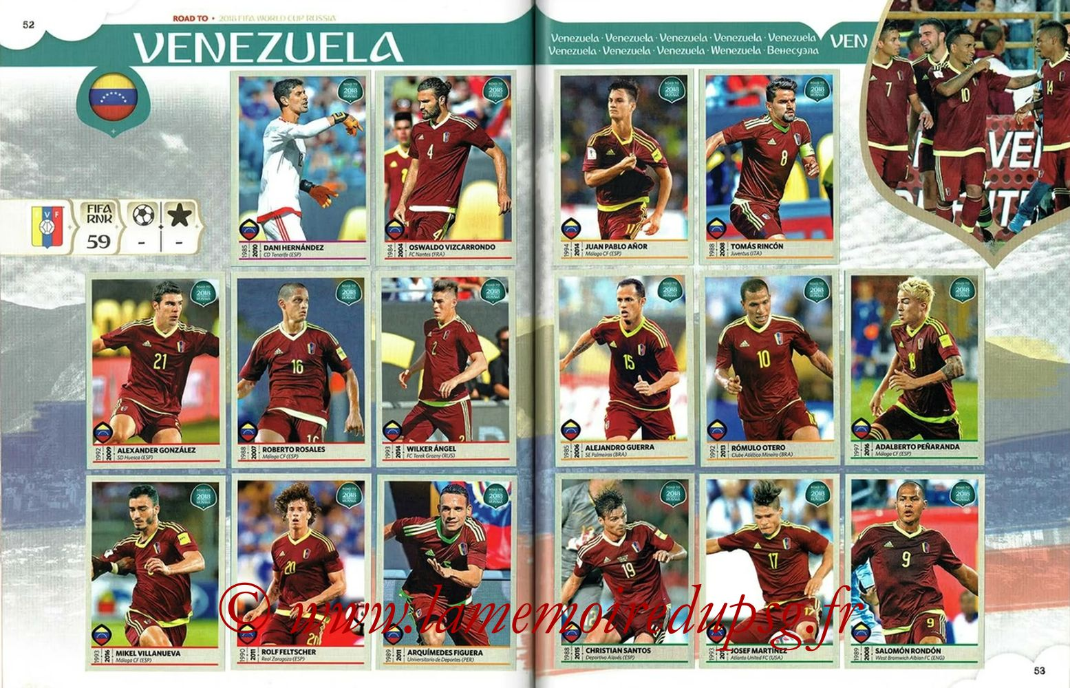 2018 - Panini Road to FIFA World Cup Russia Stickers - Pages 52 et 53 - Venezuela