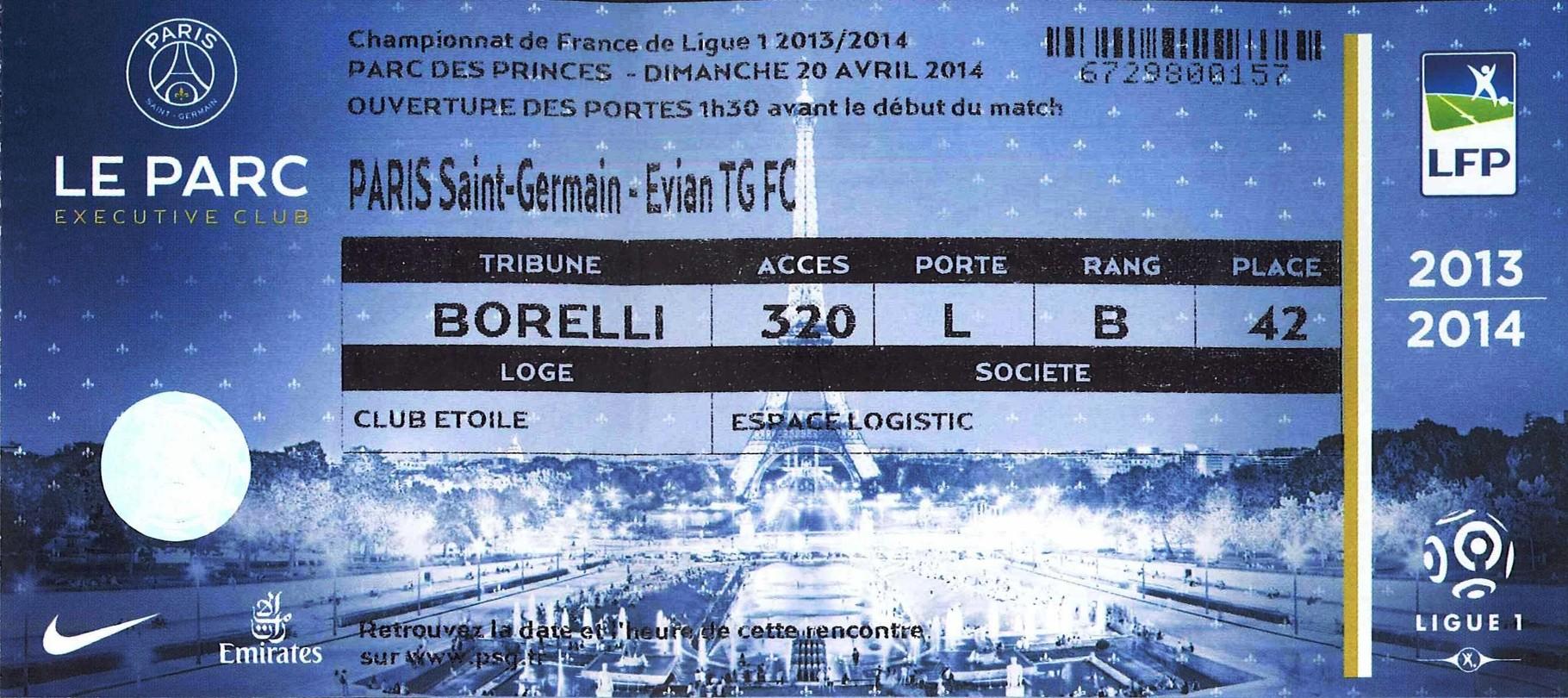 2014-04-23  PSG-Evian TG (34ème L1, Loge)