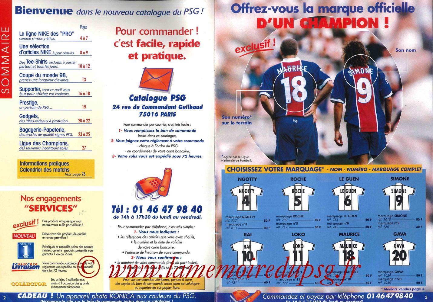 Catalogue PSG - 1997-98 - Pages 02 et 03