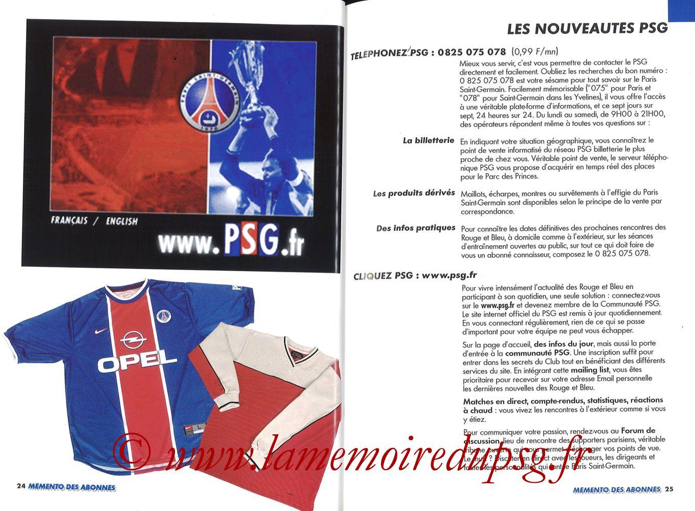 1999-00 - Guide de la Saison PSG - Pages 24 et 25