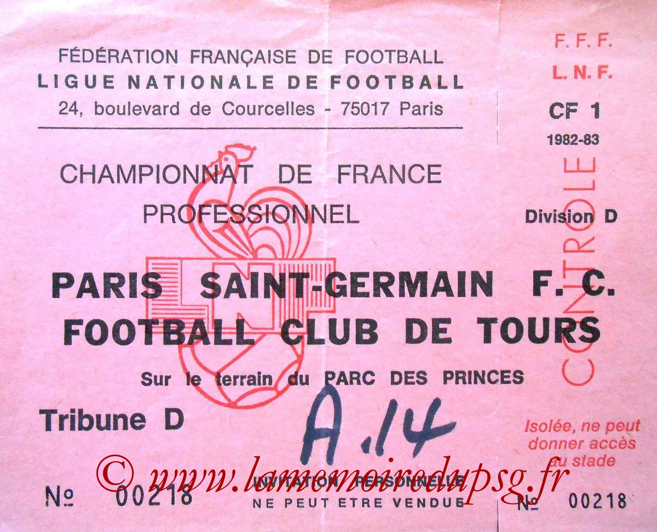 1983-05-24  PSG-Tours (37ème D1, Ticket N°19, Invitation)