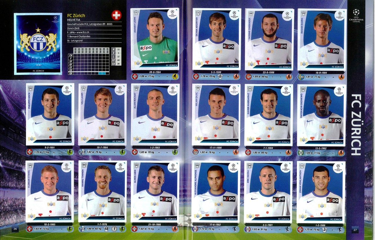 2009-10 - Panini Champions League - Pages 26 et 27 - FC Zurich