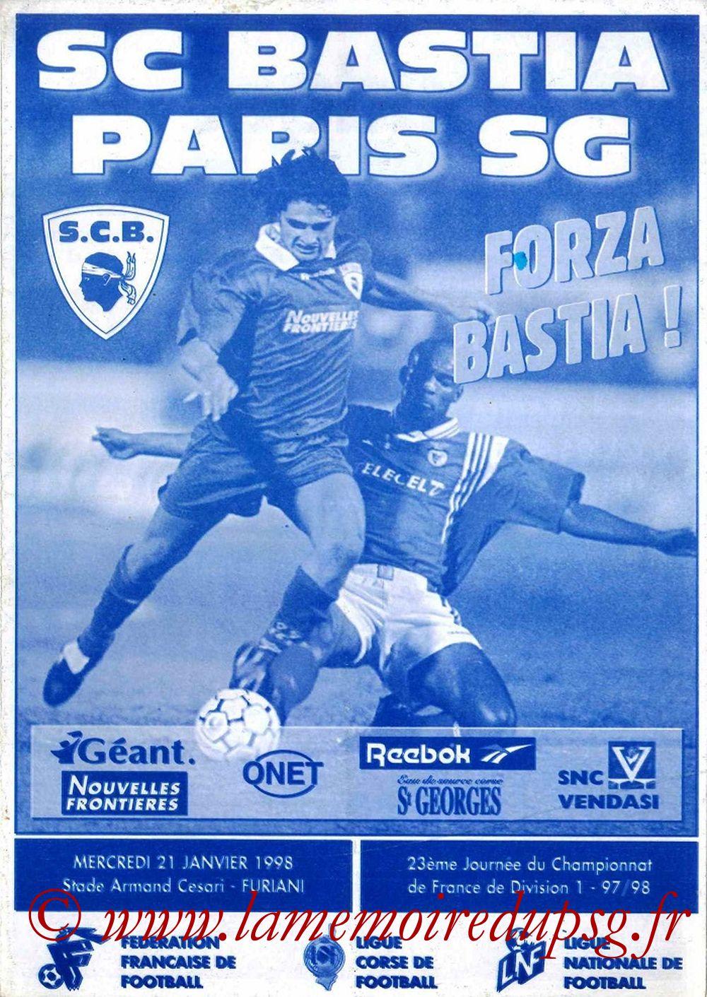 1998-01-21  Bastia-PSG (23ème D1, Forza Bastia)