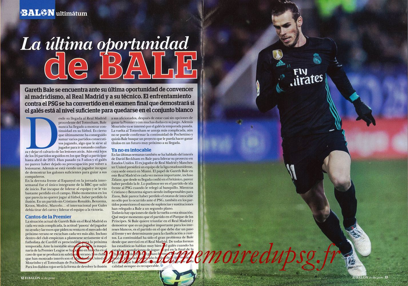 2018-03-06  PSG-Real Madrid (8ème Retourr C1, El Balon in the game N°49) - Pages 12 et 13