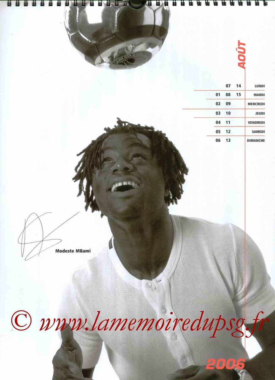 Calendrier PSG 2006 - Page 15 - Modeste M'BAMI