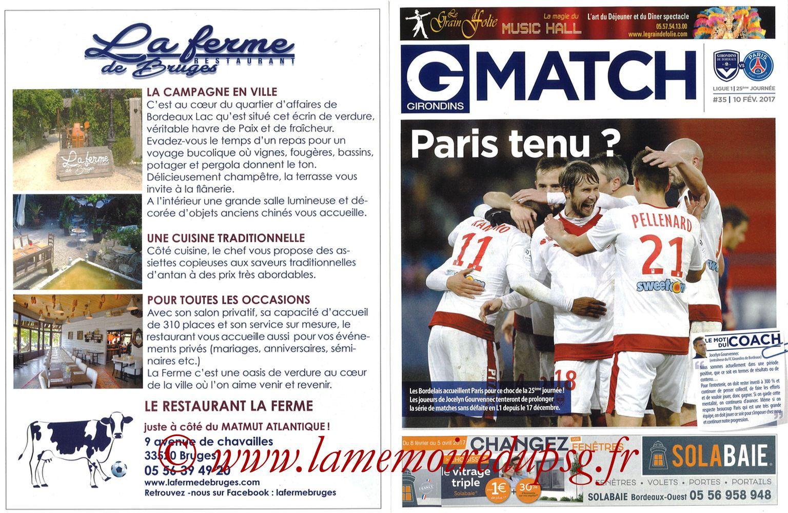2017-02-10  Bordeaux-PSG (25ème L1, Girondins Match N°35) - Pages 02 et 03