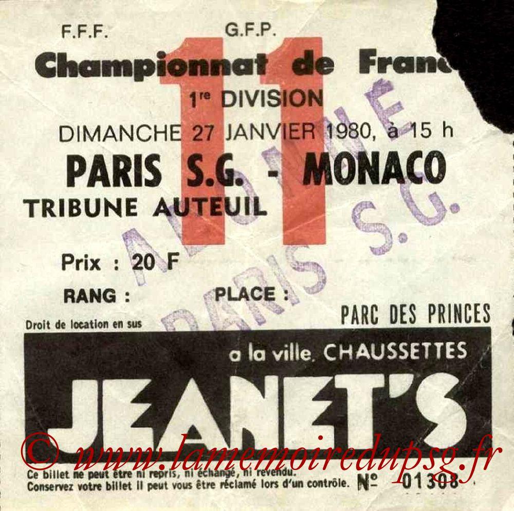 1980-01-27  PSG-Monaco (23ème D1, Ticket N°11)