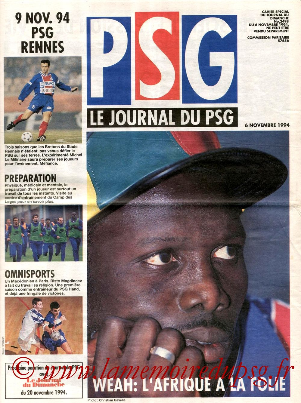 1994-11-09  PSG-Rennes (17ème D1, Le journal du PSG N°7)