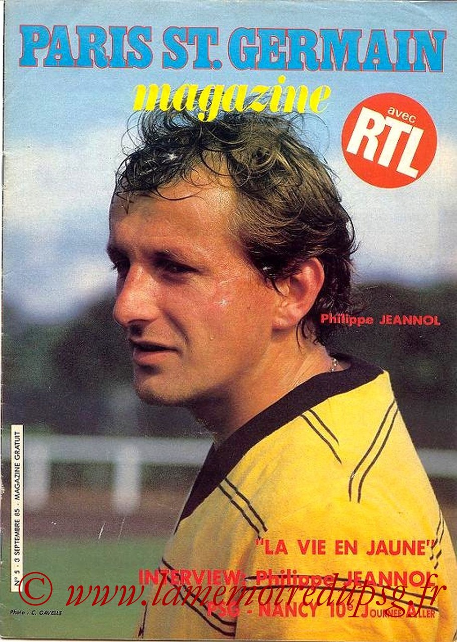 1985-09-03  PSG-Nancy (10ème D1, Paris St Germain Magazine N°5)