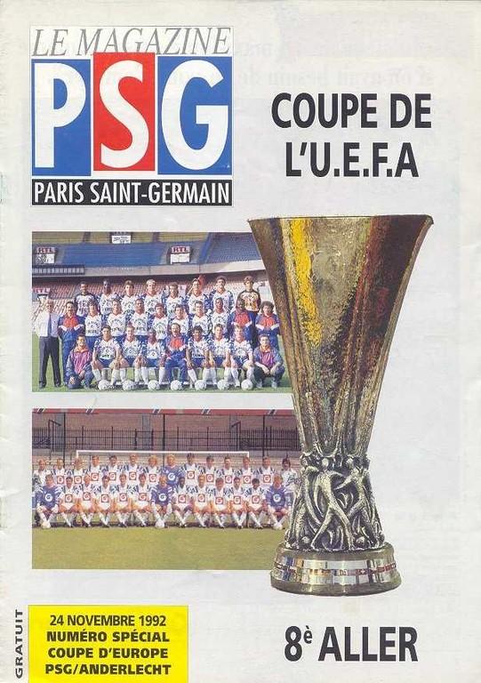 1992-11-24  PSG-Anderlecht (8ème Finale Aller C3, Le Magazine PSG N°HS)