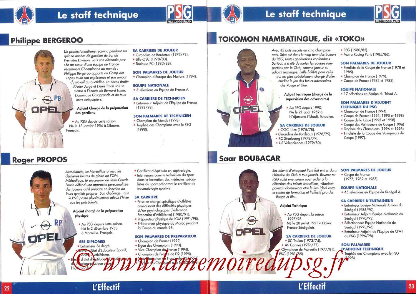 1998-99 - Guide de la Saison PSG - Pages 22 et 23