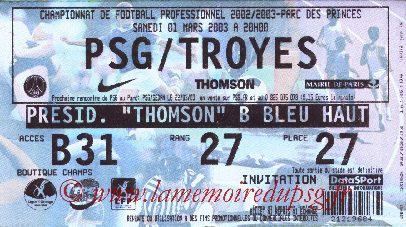 2003-03-01  PSG-Troyes (29ème L1)