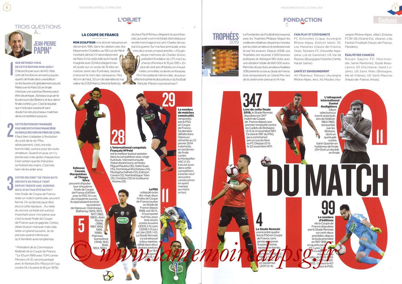2019-04-27  Rennes-PSG (Finale CF au Stade de France, Programme officiel FFF) - Pages 06 et 07