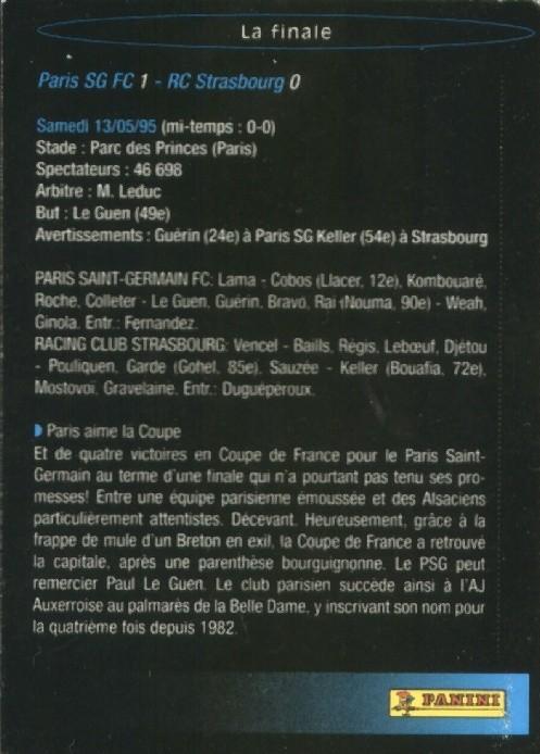 N° S08 - Parcours en Coupe de France (Verso)
