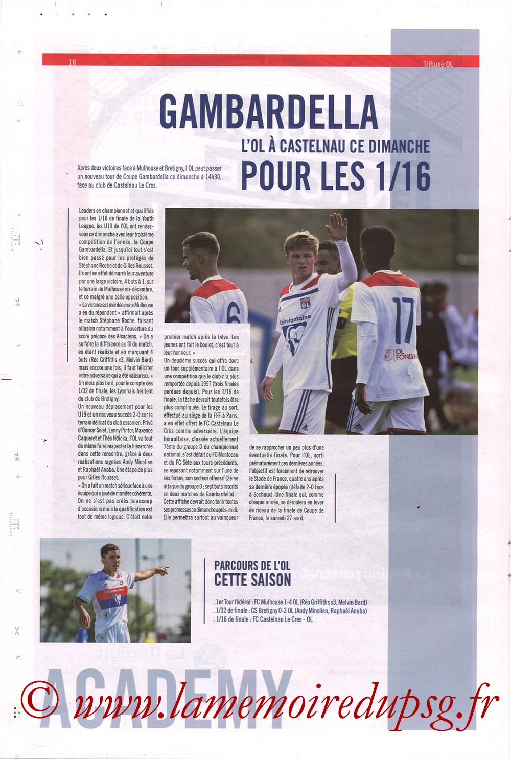 2019-02-03  Lyon-PSG (23ème L1, La Tribune OL N°270) - Page 18