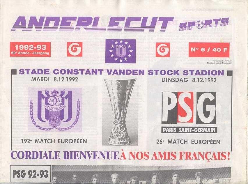 1992-12-08  Anderlecht-PSG (8ème Finale Retour C3, Anderlecht Sports N°6)