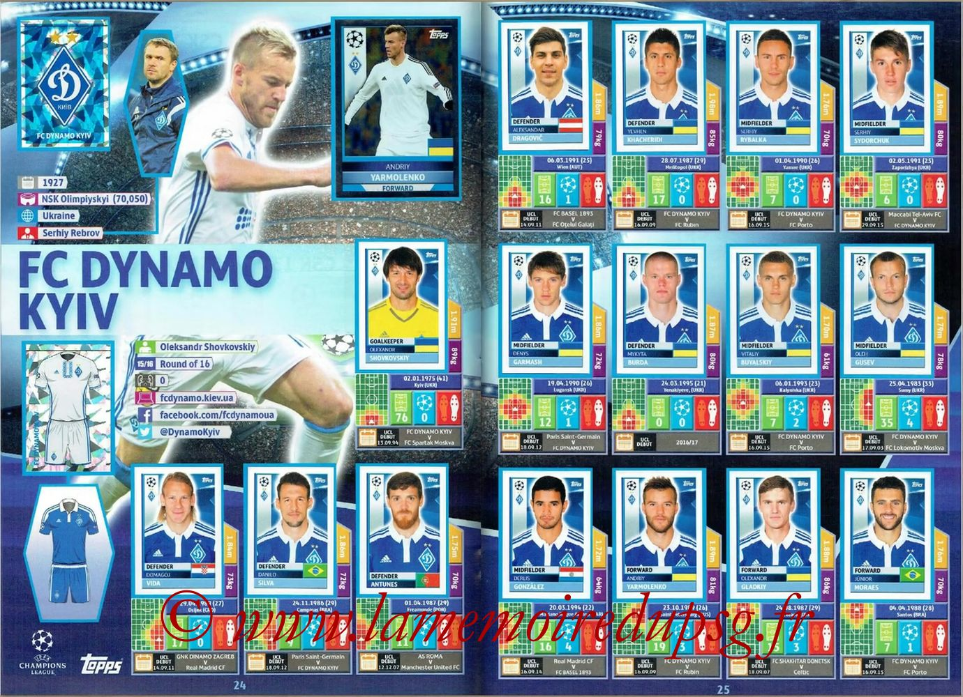 2016-17 - Topps UEFA Champions League Stickers - Pages 24 et 25 - FC Dynamo Kiev