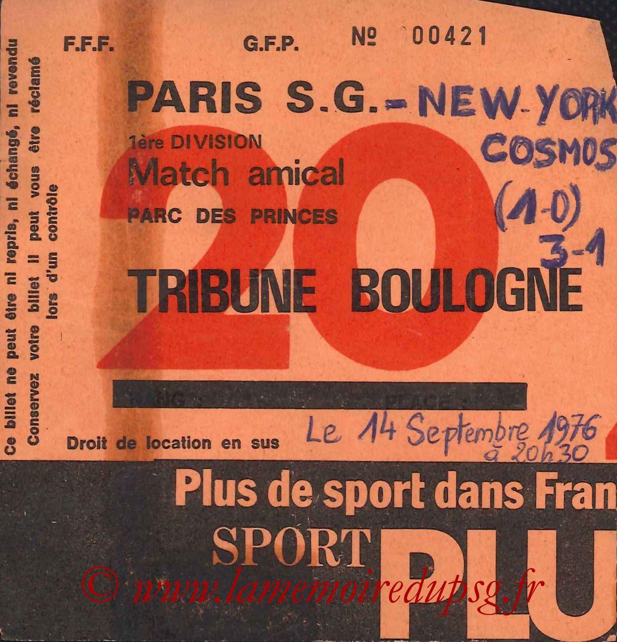 1976-09-14  PSG-Cosmos New York (Amical au Parc des Princes, Sans nom N°20)