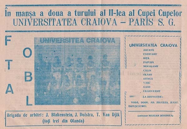 1993-11-03  Universitatea Craïova-PSG (8ème Retour C2, Programme Officiel)