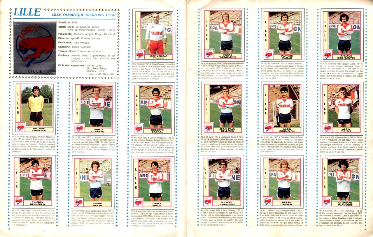 1979-80 - Panini 1980 - Pages 14 et 15 - Lille OSC