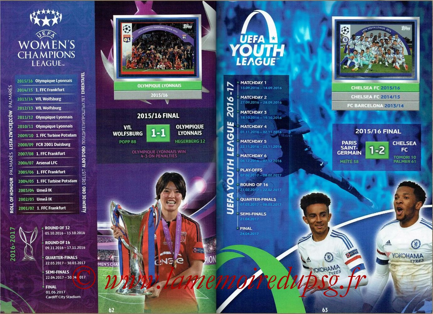 2016-17 - Topps UEFA Champions League Stickers - Pages 62 et 63 - Womens's Champions league + Youth League