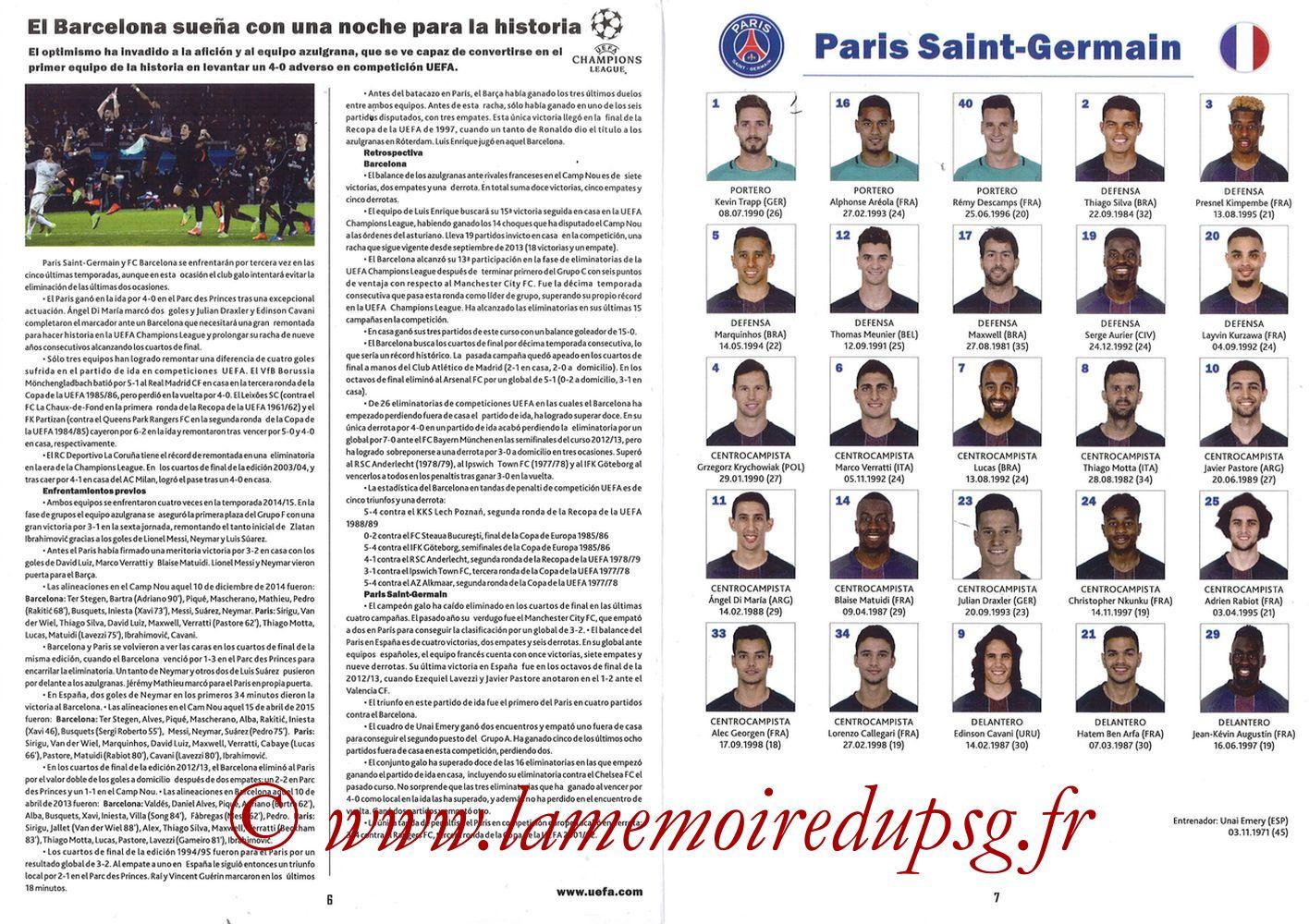 2017-03-08  Barcelone-PSG (8ème C1 retour, Programme pirate) - Pages 06 et 07
