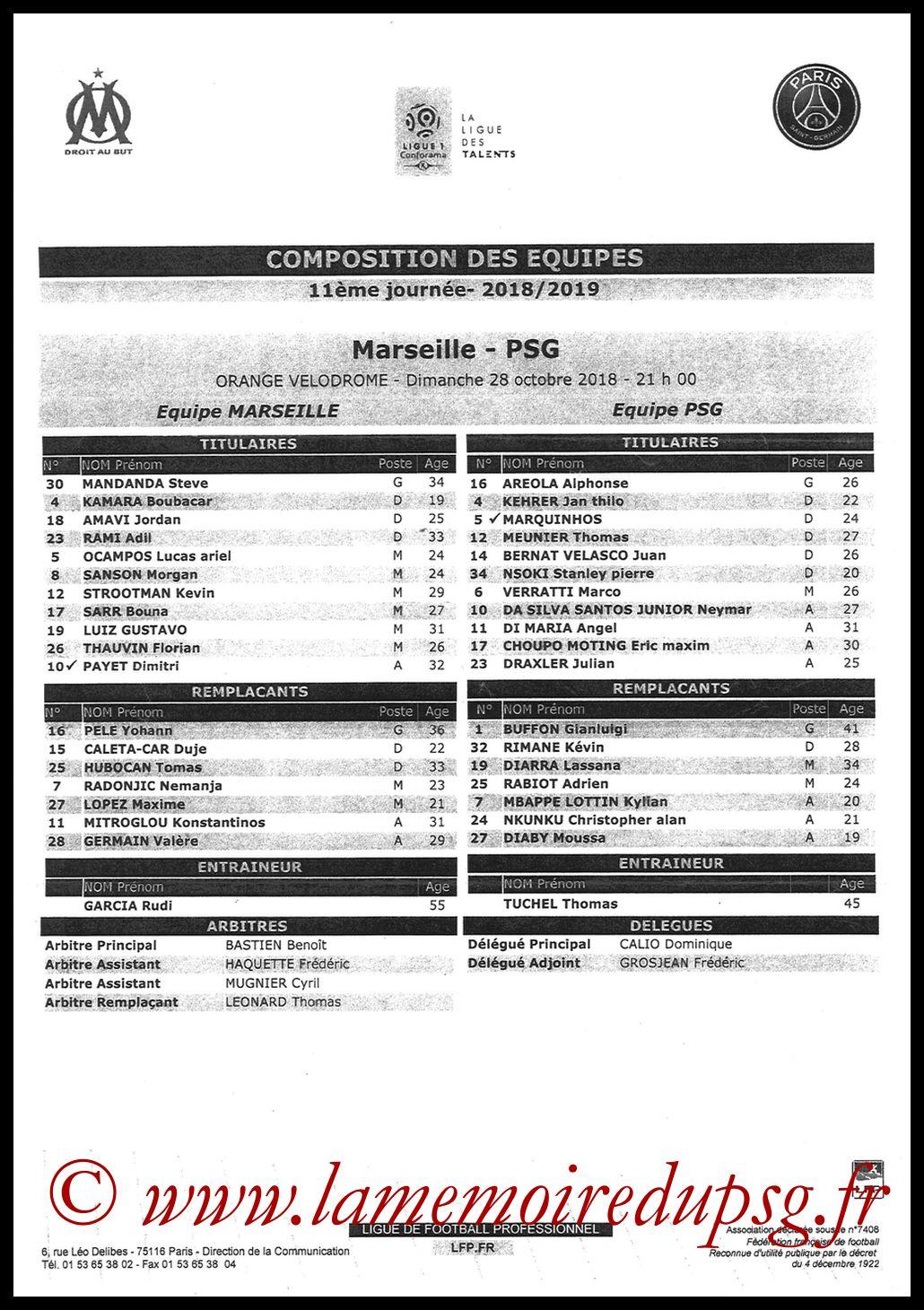 2018-10-28  Marseille-PSG (11ème L1, Feuille de match)