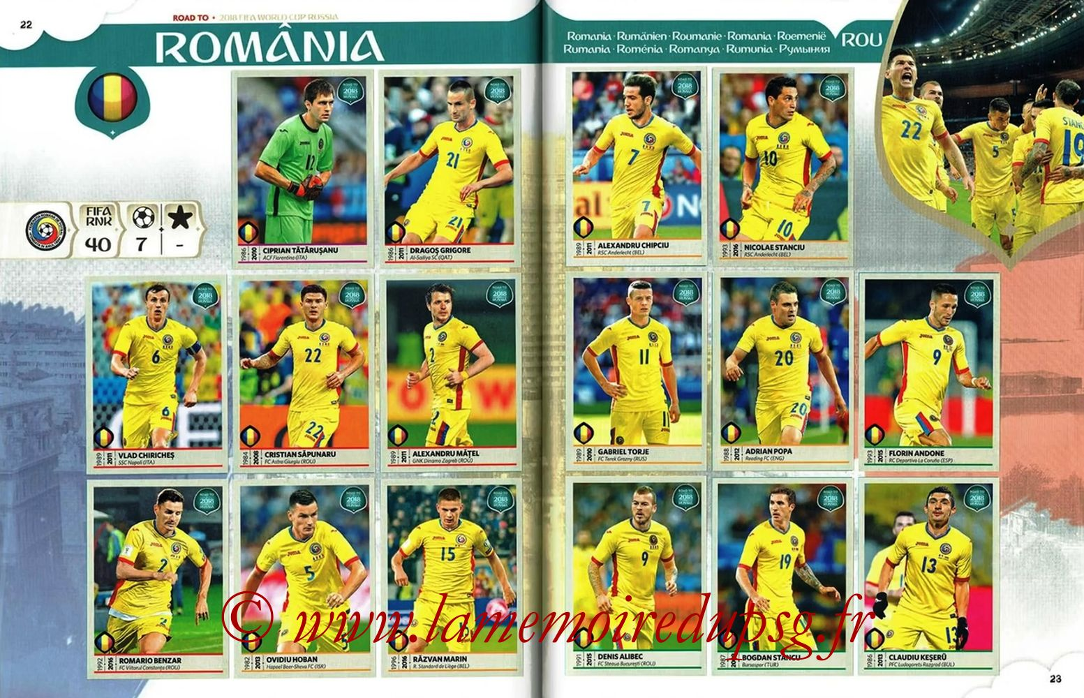 2018 - Panini Road to FIFA World Cup Russia Stickers - Pages 22 et 23 - Roumanie