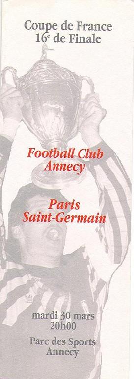 1993-03-30  Annecy-PSG  (16ème Finale CF, Programme officiel)