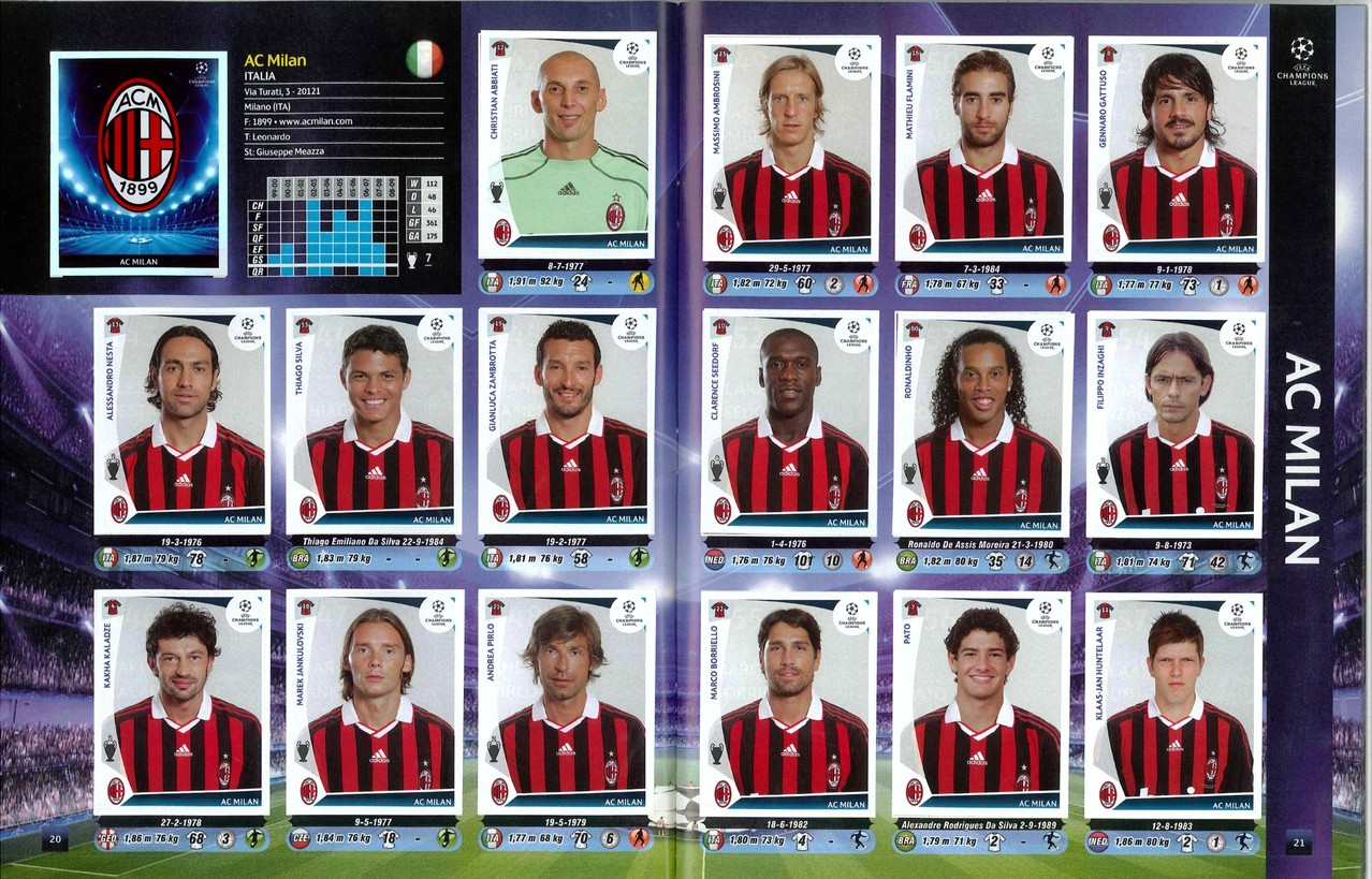 2009-10 - Panini Champions League - Pages 20 et 21 - Milan AC
