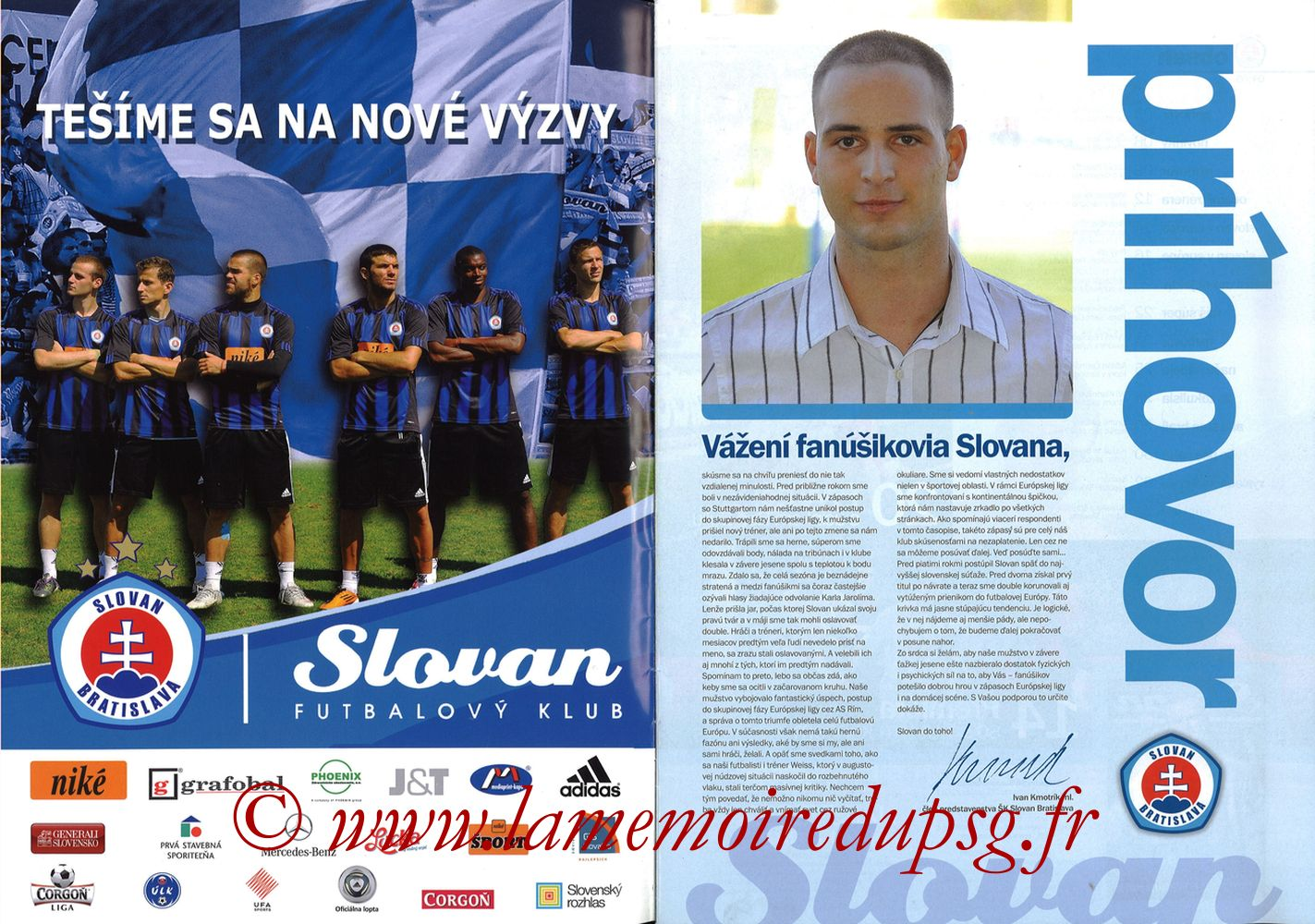 2011-10-20  Slovan Bratislava-PSG (3ème C3, Slovan N°4) - Pages 02 et 03