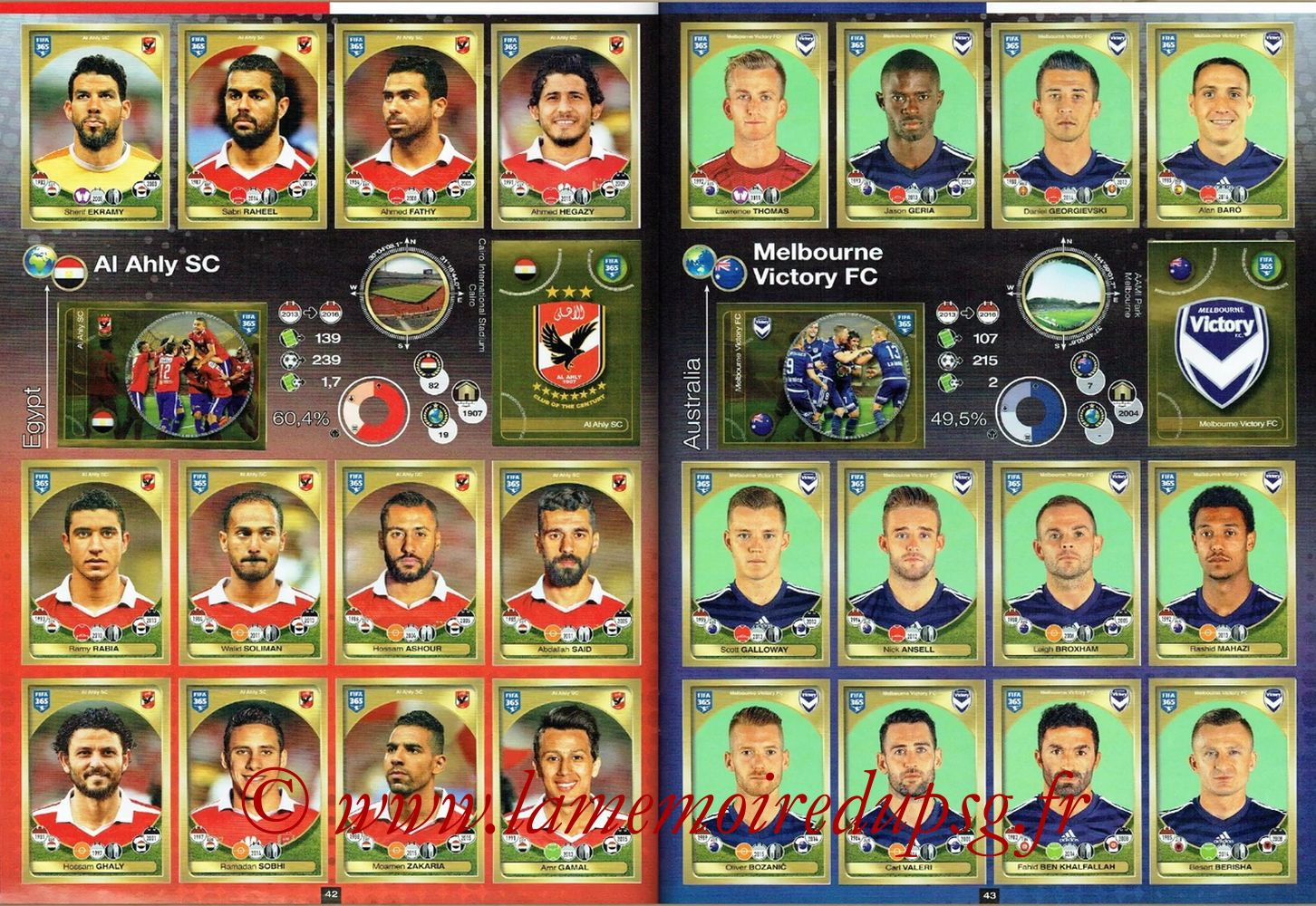 2016-17 - Panini FIFA 365 Stickers - Pages 42 et 43 - Al Ahly SC + Melbourne Victory FC