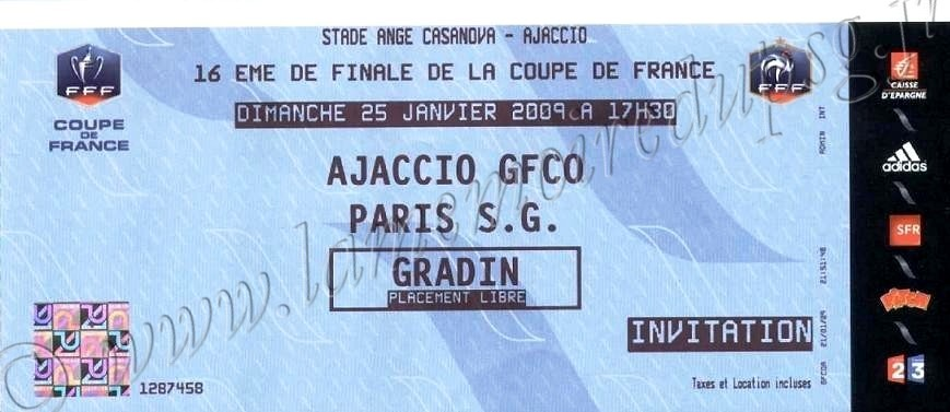2009-01-25  Gazelec Ajaccio-PSG (16ème CF)